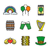 A set of 25 color thin line Saint Patrick's Day icons. File is built in the CMYK color space for optimal printing, and can easily be converted to RGB. Color swatches are global for quick and easy color changes throughout the entire set of icons.