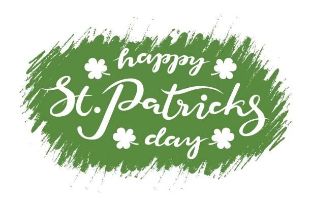 St. Patricks Day Typografie Schriftzug-Poster. St.Patricks Day Feier-Design-Hintergrund, Vektor-Illustration. Hand gezeichnet St.Patricks Day Schriftzug. Beer Festival Vorlage, Dekoration Abzeichen – Vektorgrafik