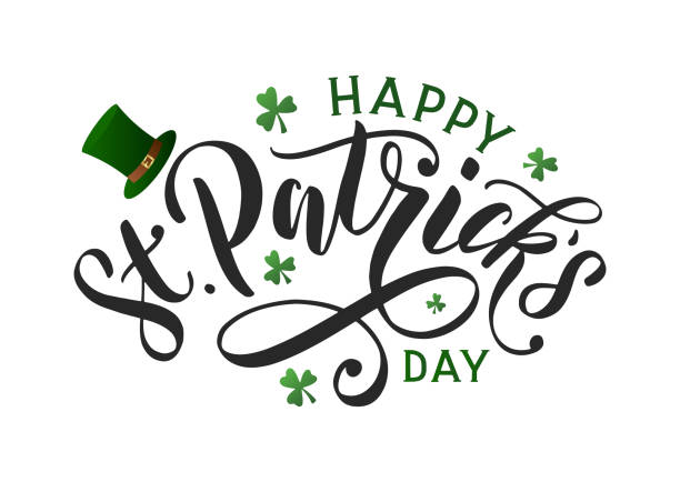 Saint patricks day typography poster. Hand sketched lettering st. patrick day decorated by clover leafs and leprechaun hat. Celtic modern calligraphy vector eps 10 st patricks day stock illustrations