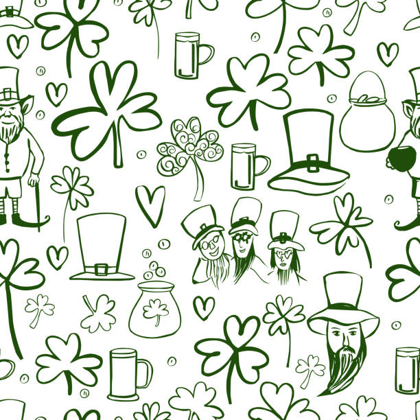 saint patrick's day vector tło z zielonej koniczyny. - four seasons stock illustrations