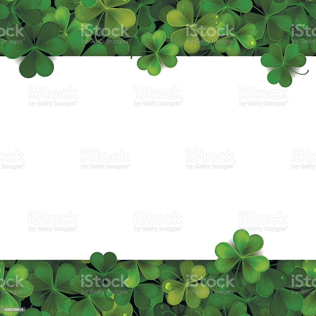 Saint Patrick's Day vector background with shamrock leaves and banner