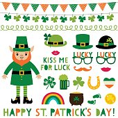 Saint Patricks Day vector decoration and party props set