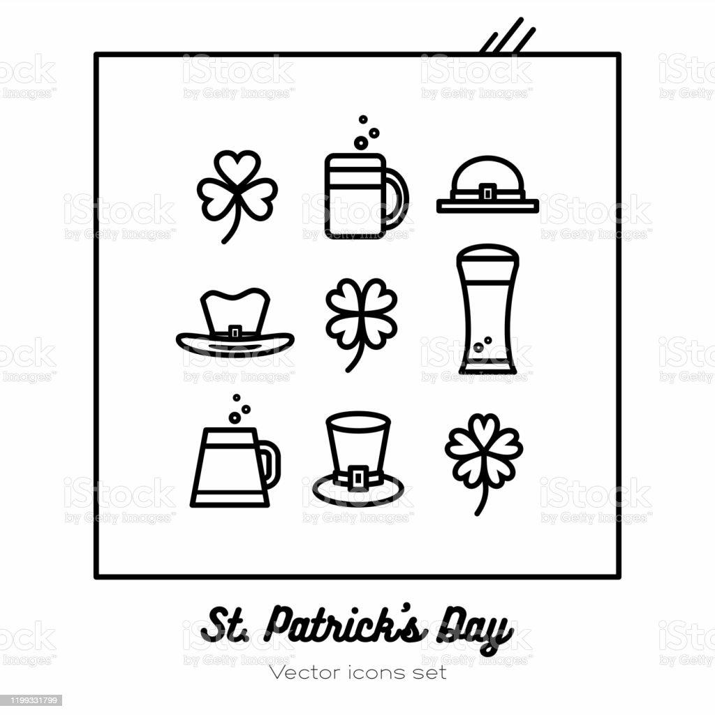 Saint Patricks day vector icons set. Black white line art flat icons...