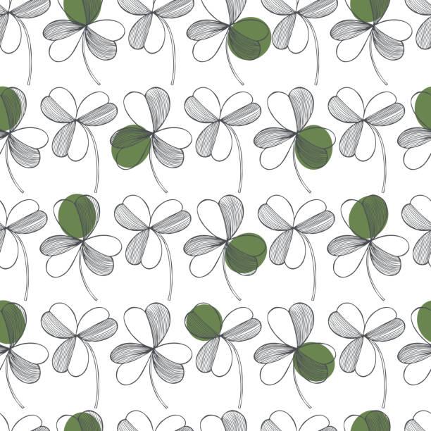 wzór wektorowy dnia świętego patryka z zieloną koniczyną. ilustracja szkicu - four seasons stock illustrations