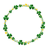 Saint Patrick's Day wreath with shamrock leaves round frame.  vector illustration isolated from background