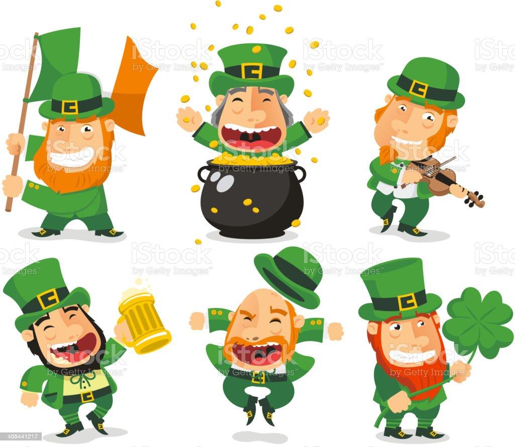 Saint Patricks Leprechauns Set 2 vector art illustration
