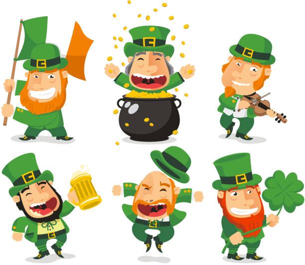 Saint Patricks Kobolde (Leprechauns) Set 2 – Vektorgrafik