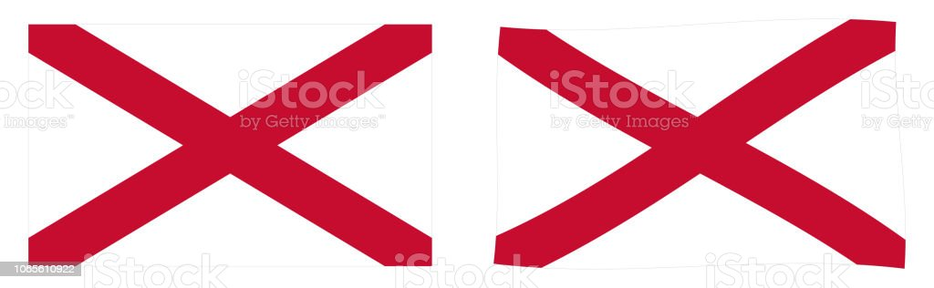 Saint Patrick's Saltire flag, used in Ireland. Simple and slightly waving version. vector art illustration