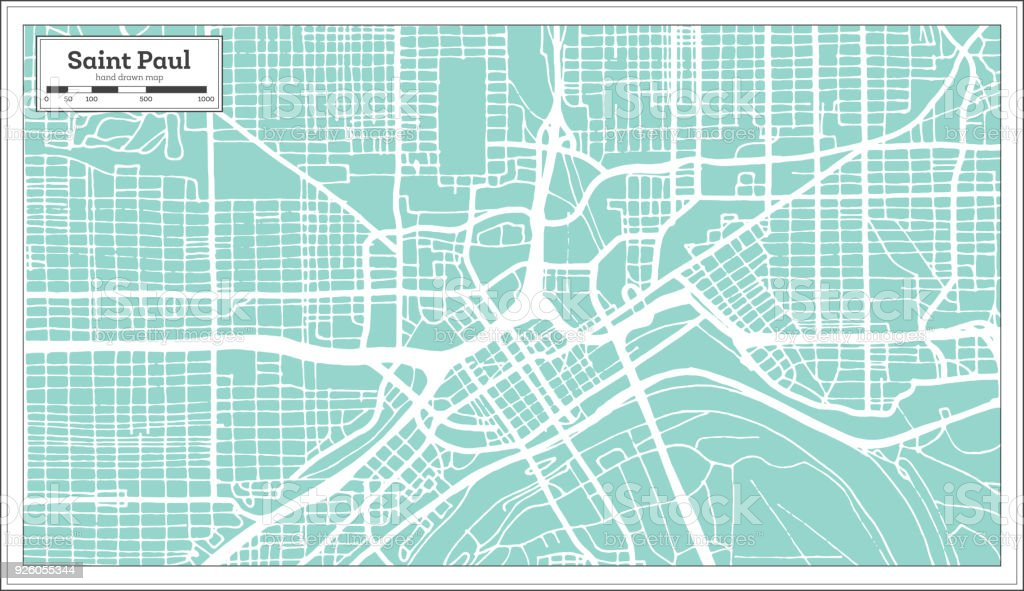 Saint Paul Minnesota Usa City Map In Retro Style Outline Map Stock