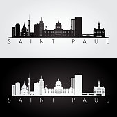 Saint Paul usa skyline and landmarks silhouette, black and white design, vector illustration.