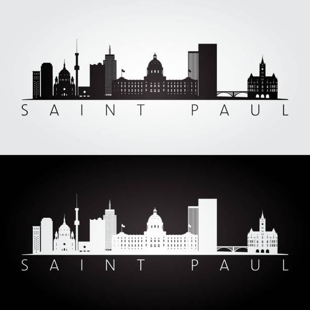 ilustrações, clipart, desenhos animados e ícones de saint paul eua skyline e marcos silhueta, - capitel