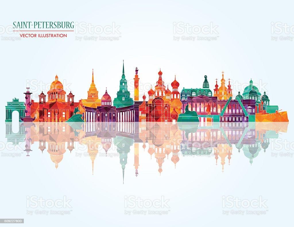 Saint Petersburg famous monuments . Vector illustration vector art illustration