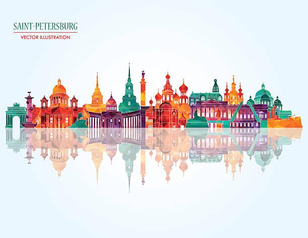 stockillustraties, clipart, cartoons en iconen met saint petersburg famous monuments . vector illustration - sint petersburg rusland