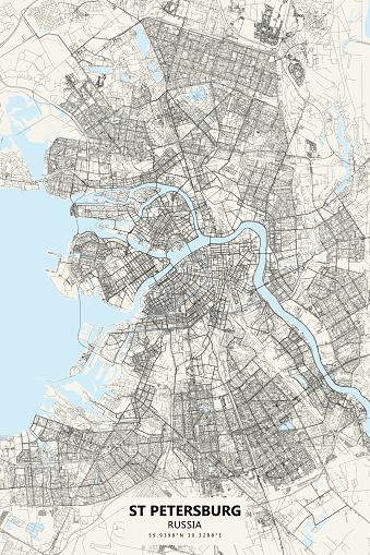 Saint Petersburg, Russia Vector Map