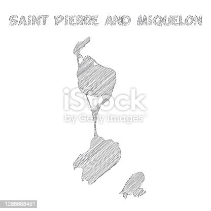 Map of Saint Pierre and Miquelon sketched, isolated on a blank background. Vector Illustration (EPS10, well layered and grouped). Easy to edit, manipulate, resize or colorize.