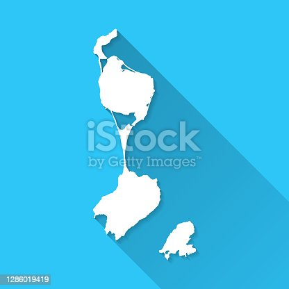 White map of Saint Pierre and Miquelon isolated on a blue background with a long shadow effect and in a flat design style. Vector Illustration (EPS10, well layered and grouped). Easy to edit, manipulate, resize or colorize.