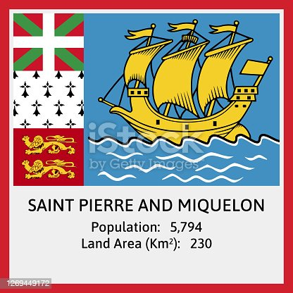 Saint Pierre and Miquelon (North America) National Flag in Vector with some detail about Population Count And Land Area