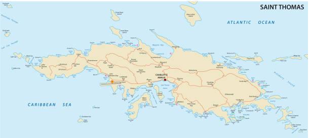 saint thomas us virgin islands map vector art illustration