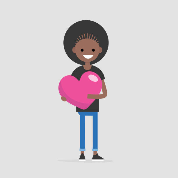 Saint Valentines concept. Young black smiling character holding a big pink heart. Declaration of love. Flat editable vector illustration, clip art Saint Valentines concept. Young black smiling character holding a big pink heart. Declaration of love. Flat editable vector illustration, clip art african american valentine stock illustrations