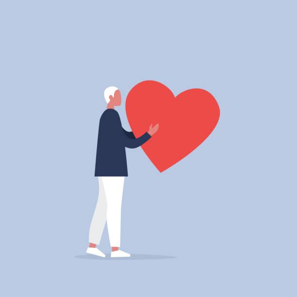 ilustraciones, imágenes clip art, dibujos animados e iconos de stock de san valentín. personaje masculino joven con un gran corazón rojo. relaciones. amor. romance. emociones. ilustración de vector completamente editable, prediseñadas - comfort