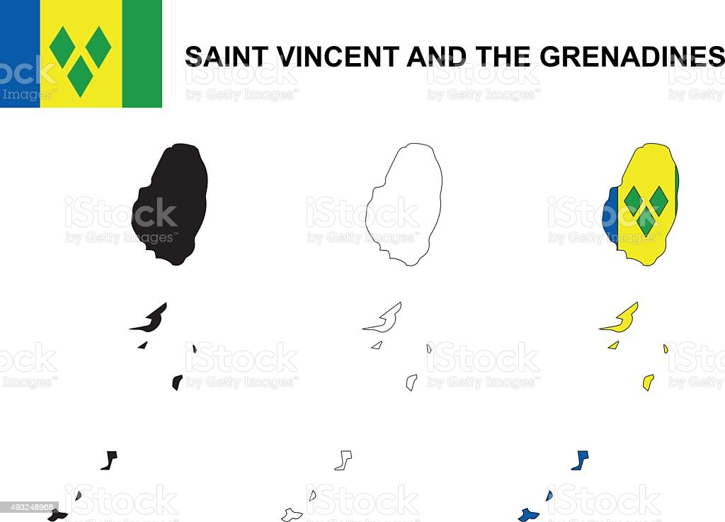 Saint Vincent And The Grenadines Map Flag Stock Vector Art - Saint vincent and the grenadines map