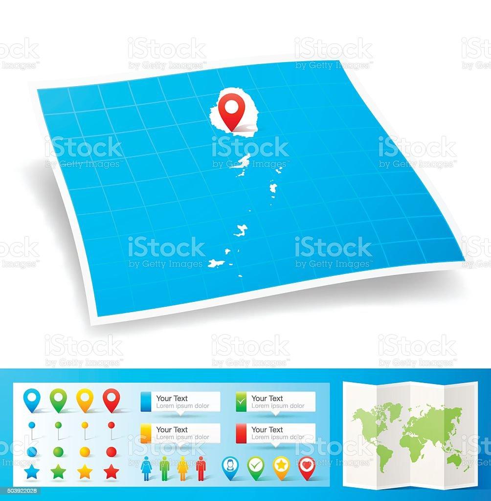 San Vicente Y Las Granadinas Mapa Con Pasadores De Ubicacion