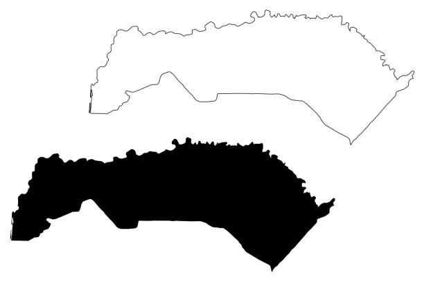 регион сен-луи (регионы сенегала, республика сенегал) иллюстрация вектора карты, наброски карты сен-луи - st louis stock illustrations