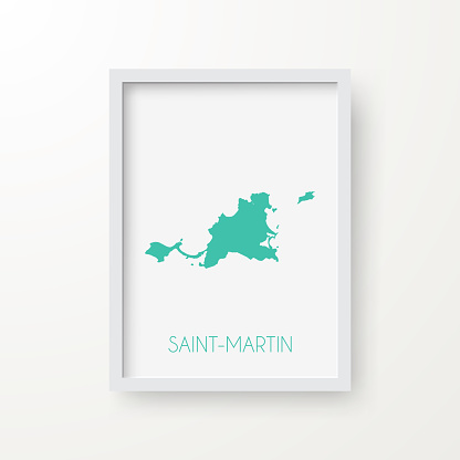 Saint-Martin map in a frame on white background