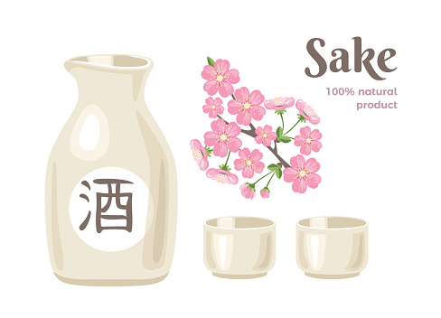 Sake isolated on white background. Ceramic light bottle with Japanese rice wine, two cups and pink sakura flowers. Vector illustration of alcoholic drink in cartoon flat style.