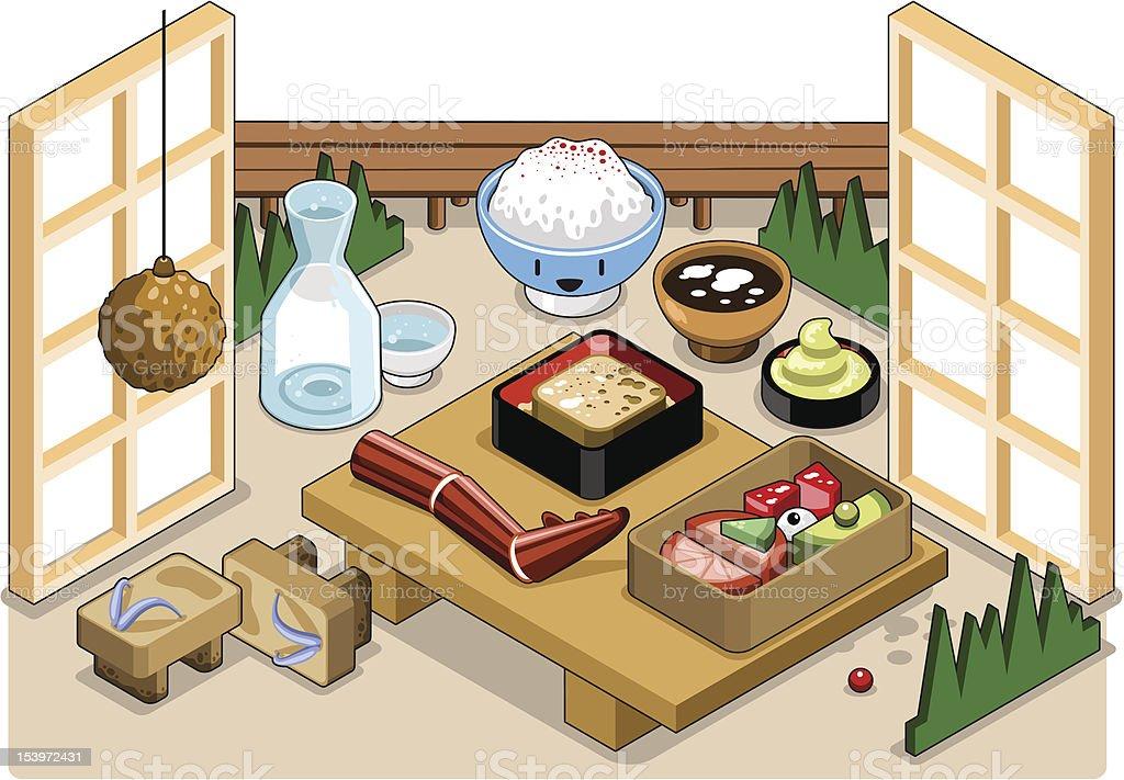 Sake, rice and tofu (vector) vector art illustration