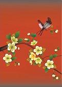 Spring. All wakes up, flowers sakura blossom love swallows.