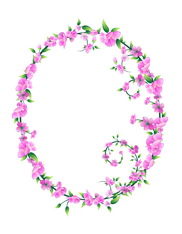 Sakura Blossom Circle Frame Vector