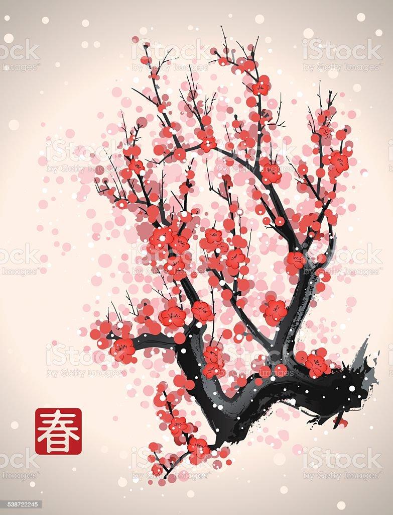 sakura blossom tree branch vector art illustration