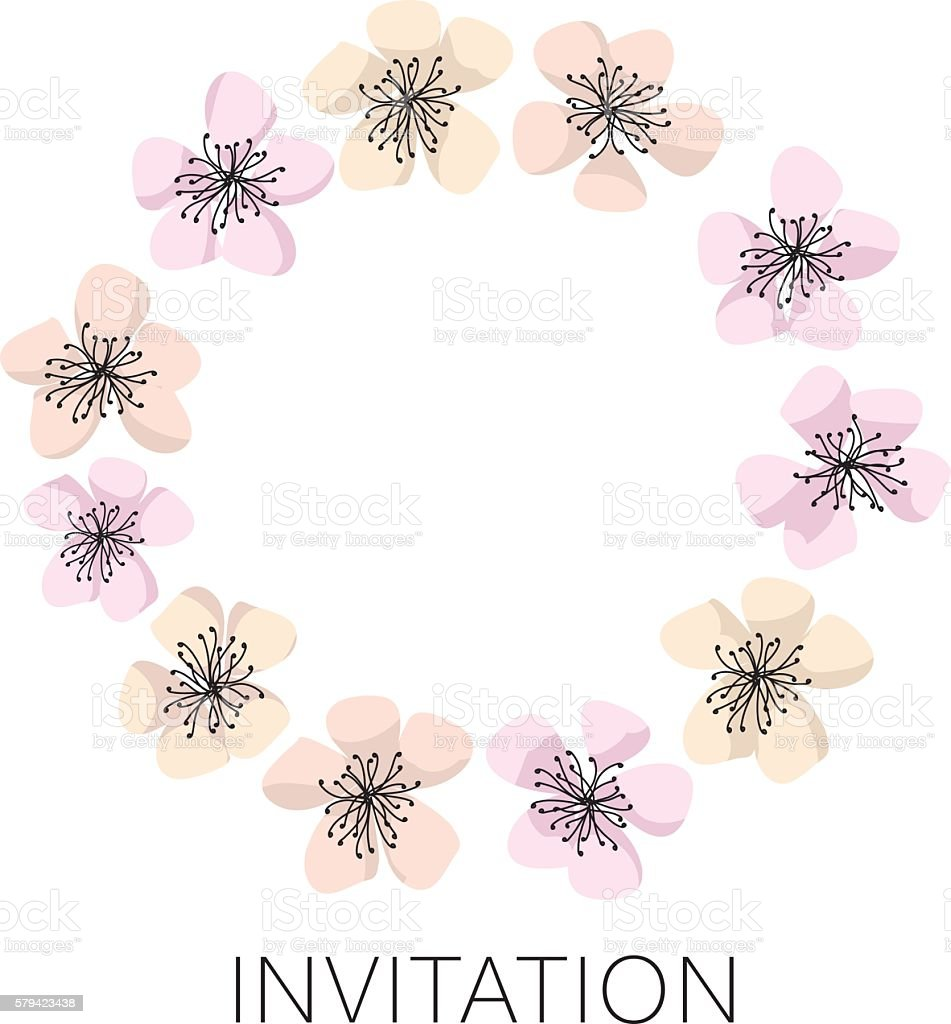 sakura blossom vector wreath template cherry floral illustratio の