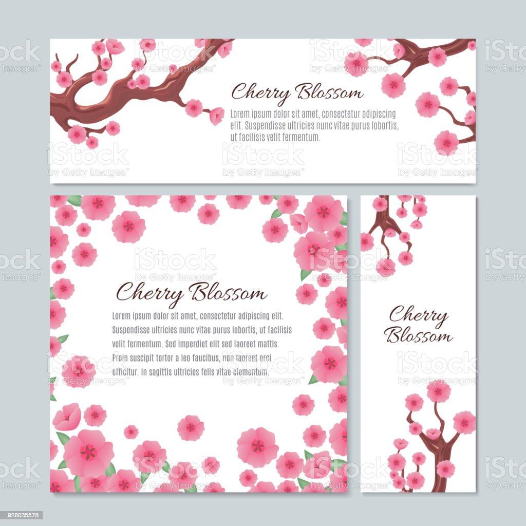 Sakura Blossom With Pink Cherry Flowers Vector Invitation