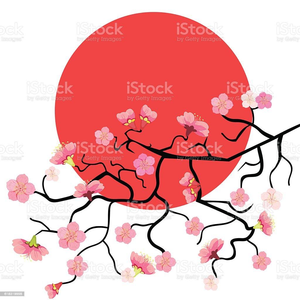 Sakura branch with cherry blossom at sunset. vector illustration vector art illustration