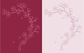 Outline of a branch of Sakura / cherry blossom. Perfect to be an element in your DIY wedding invitation.