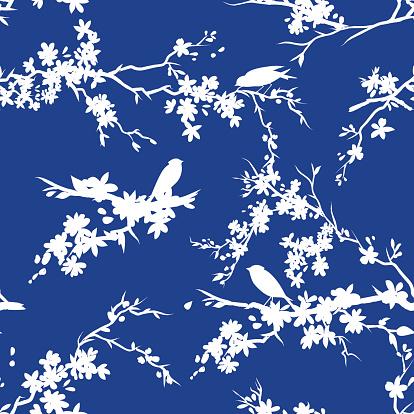 Sakura Cherry Blossoms And Birds Seamless Pattern Blue White