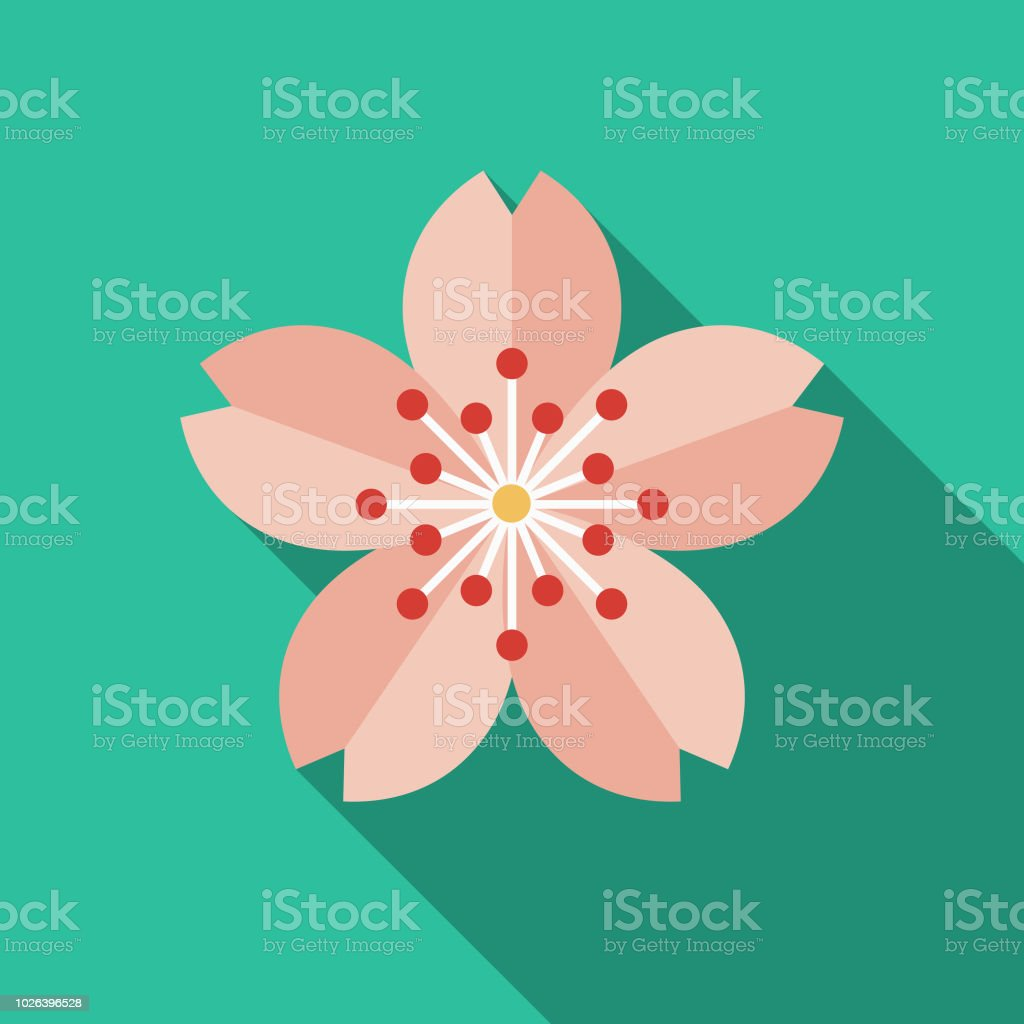 Sakura Flat Design Japan Icon A flat design Japan icon with long side shadow. File is built in the CMYK color space for optimal printing, and can easily be converted to RGB. Color swatches are global for quick and easy color changes throughout the entire set of icons. Annual Event stock vector