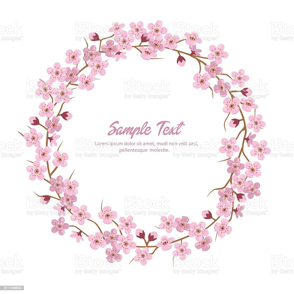 Sakura Flower Wreath. Sakura Round Frame. vector art illustration