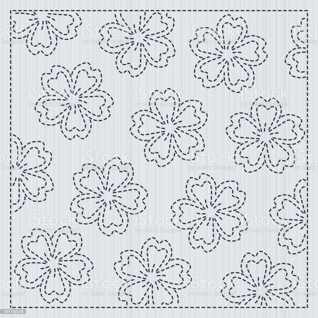 Ilustración de Flores De Sakura En El Adorno De Acolchar De Sashiko ...