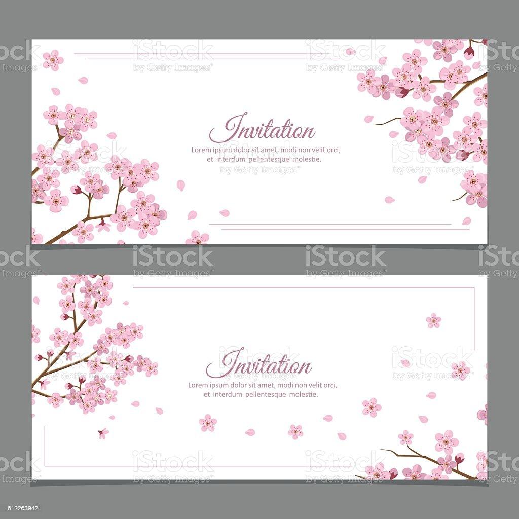 Sakura Flowers Invitation Cards vector art illustration