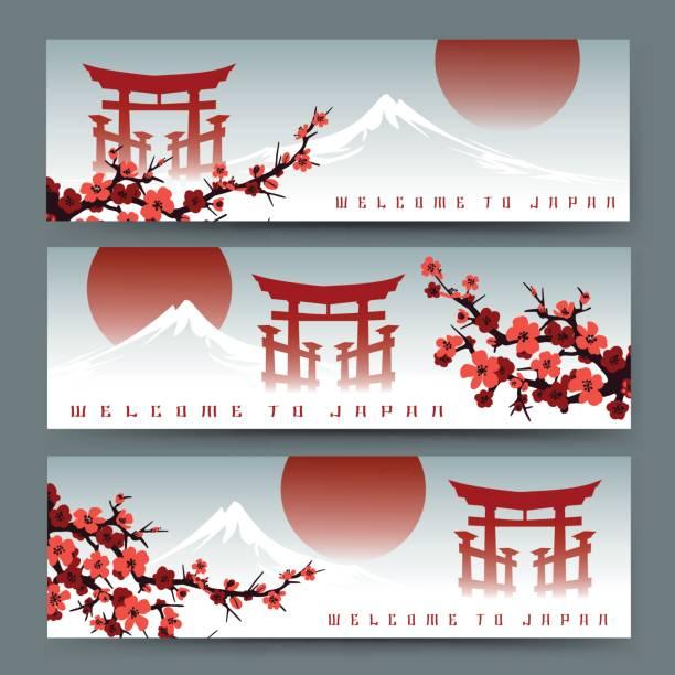 bildbanksillustrationer, clip art samt tecknat material och ikoner med sakura, fuji berg och torii banderoller - japanskt ursprung