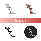 Sakura icon. Cherry blossom on tree branch. Japanese hanami. Flourish on twig. Springtime blooming flower. Botany, nature. Linear black and RGB color styles. Isolated vector illustrations