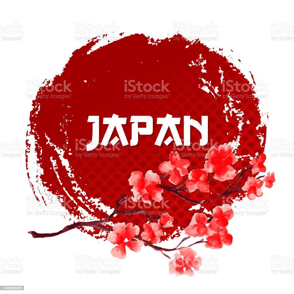 Sakura Auf Rotem Grund Der Sonne Japan Zeichen Vorlage Isoliert ...