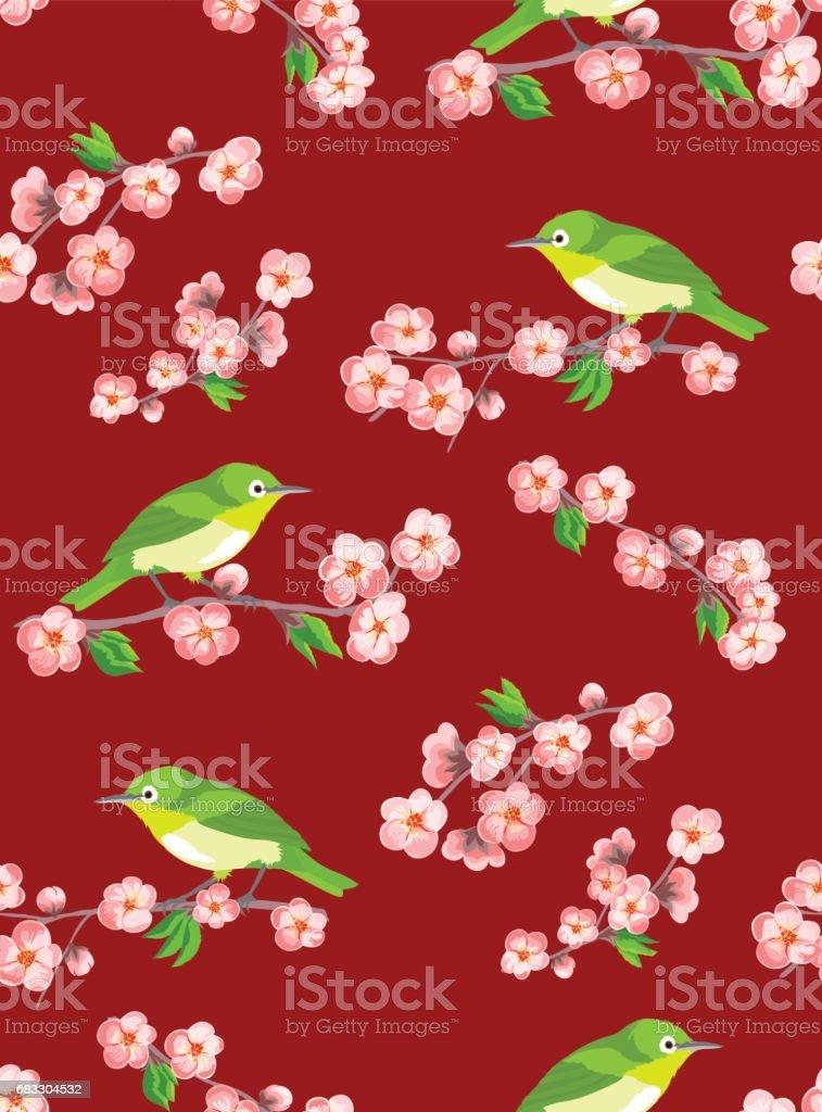 Sakura seamless pattern with japanese birds on dark red background. sakura seamless pattern with japanese birds on dark red background - stockowe grafiki wektorowe i więcej obrazów abstrakcja royalty-free