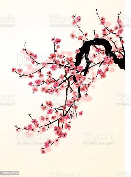 Sakura - Stockowe grafiki wektorowe i więcej obrazów Atrament
