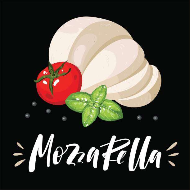 Salad and pizza ingredients - sliced mozzarella, tomato, basil Salad and pizza ingredients - sliced mozzarella, tomato, basil mozzarella stock illustrations