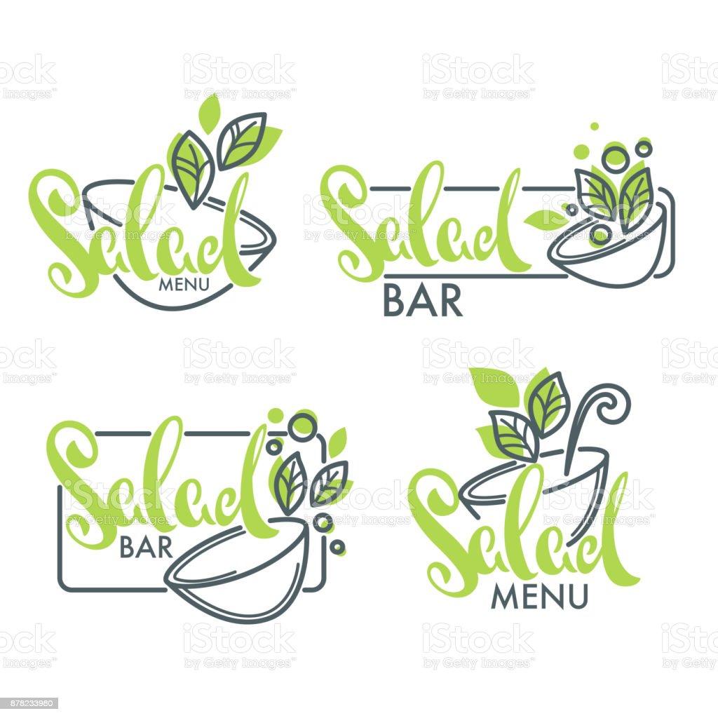 barra de ensaladas y menú logotipo, emblemas y símbolos, composición de Letras con imágenes de arte de línea verde hojas - ilustración de arte vectorial