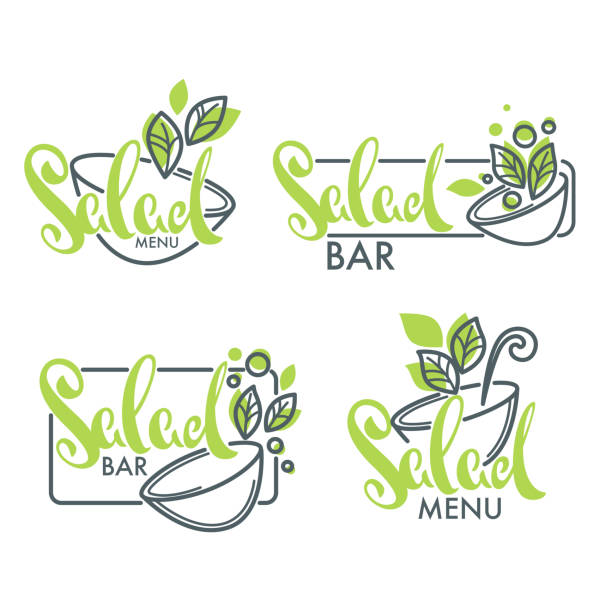 salad bar and menu logo, emblems and symbols, lettering composition with line art image of green leaves salad bar and menu logo, emblems and symbols, lettering composition with line art image of green leaves cooking borders stock illustrations